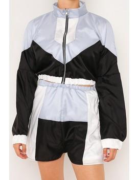 Blue Colour Block Shell Suit Shorts by Lasula