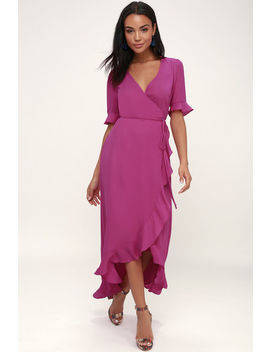 Wild Winds Magenta High Low Wrap Dress by Lulu's