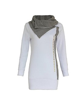 Hikenn Damen Longshirt Strickpullover, Tunika Langarm Pullover Pulli Top In Weiß by Amazon
