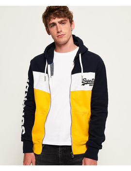 Vintage Logo Panel Zip Hoodie by Superdry