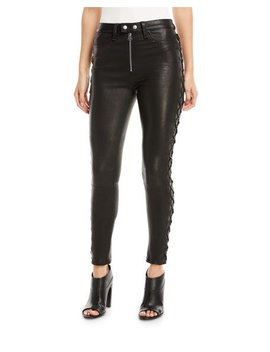 Kiku Leather Side Lace Up Skinny Pants by Neiman Marcus