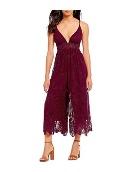 Meg Chiffon Eyelet Embroidered Plunge Cropped Culotte Jumpsuit by Generic