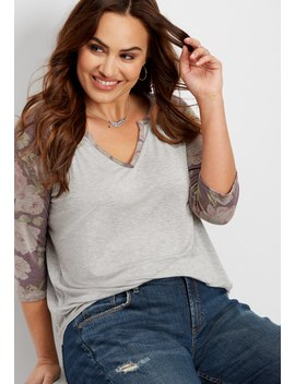 Plus Size 24/7 Notch Neck Floral Sleeve Tee by Maurices