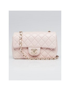 Light Pink Quilted Lambskin Leather Classic New Mini Flap Bag by Chanel
