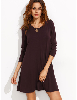 Burgundy Long Sleeve T Shirt Dress by Romwe