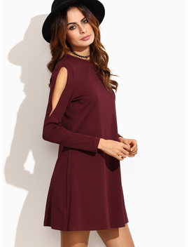 Open Shoulder Swing Dress by Romwe