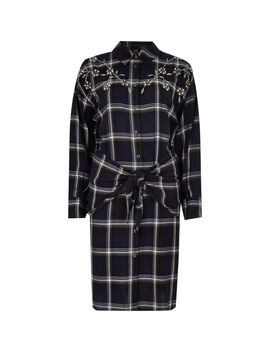 Blue Check Jewel Tie Front Shirt Dress by River Island