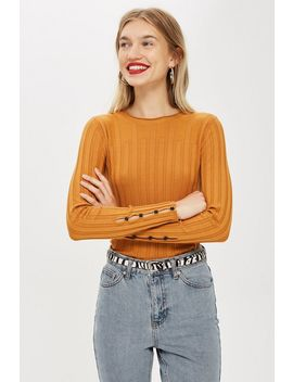 Petite Ribbed Button Sleeve Top by Topshop