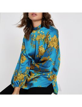 Blue Floral High Neck Top by River Island