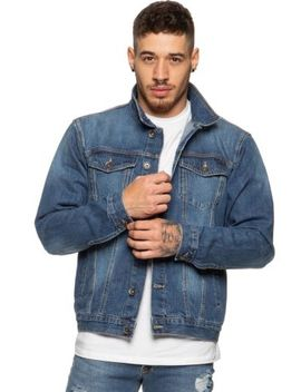 Enzo Mens Denim Jacket Trucker Style Premium Quality Vintage Classic Blue Black by Ebay Seller