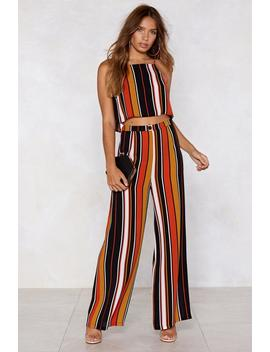Your Line To Shine Striped Crop Top And Pants by Nasty Gal