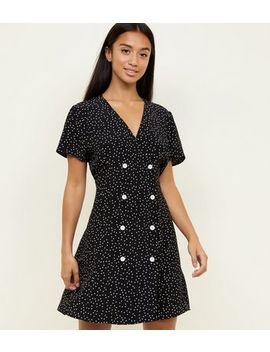 Petite Black Spot Print Double Breasted Tea Dress by New Look