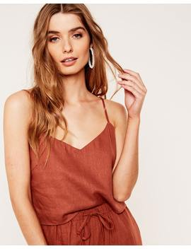 Linen Blend Crop Cami by Glassons