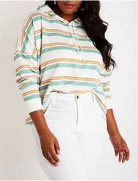 Plus Size Striped Crop Hoodie by Charlotte Russe