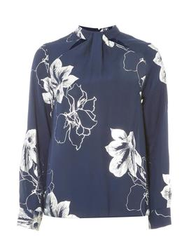 Navy Foil Emily Print Long Sleeve Top by Dorothy Perkins