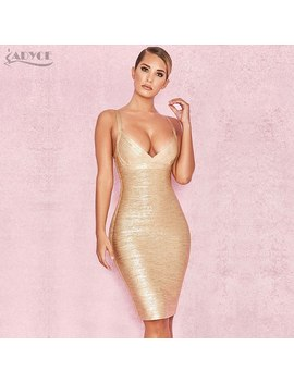 Adyce 2018 New Summer Dress Women Runway Sleeveless Deep V Neck Gold Foiling Sexy Celebrity Bodycon Cocktail Party Dress Vestido by Adyce