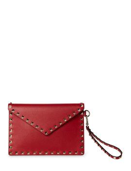 Red Valentino Rockstud Leather Wristlet by Valentino Garavani