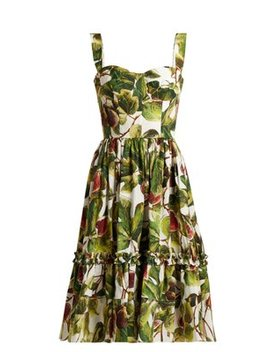 Fig Print Cotton Bustier Dress by Dolce & Gabbana