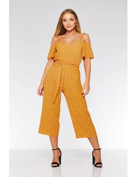 Mustard Polka Dot Culotte Jumpsuit by Quiz