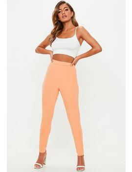 Peach Stretch Crepe Cigarette Pants by Missguided