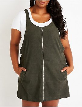 Plus Size Corduroy Overall Dress by Charlotte Russe