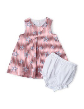 (Infant Girls) Two Piece Stars & Stripes Dress & Bloomers Set by Pippa & Julie