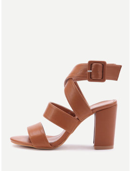 Pu Criss Cross Block Heels With Buckle by Romwe