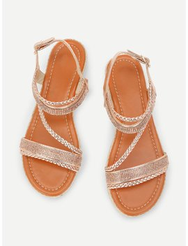 Plaited Strap Flat Sandals by Romwe