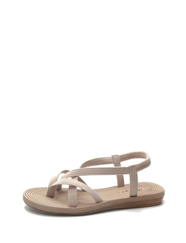 Criss Cross Strap Flat Sandals by Romwe
