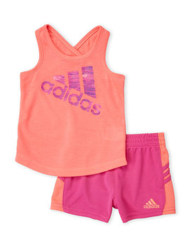 (Infant Girls) Two Piece Logo Tank & Perforated Shorts Set by Adidas
