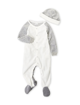 (Newborn) Two Piece Color Block Velour Footie & Hat Set by Frenchie Mini Couture