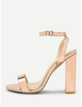 Peep Toe Block Heeled Pu Sandals by Romwe