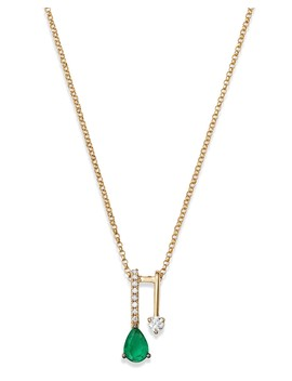 "Emerald Teardrop & Diamond Pendant Necklace In 14 K Yellow Gold, 18""   100 Percents Exclusive  by Bloomingdale's"