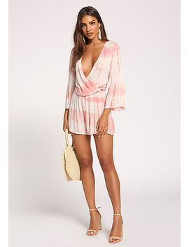 Coral Tie Dye Cut Out Plunge Romper by Love Culture
