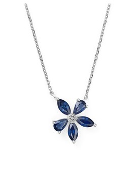 "Sapphire And Diamond Flower Pendant Necklace In 14 K White Gold, 16""   100 Percents Exclusive by Bloomingdale's"