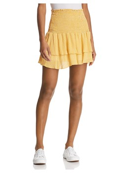 Positano Smocked Gingham Mini Skirt by Sage The Label