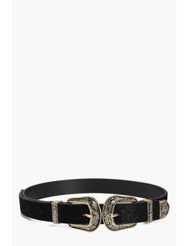 Engraved Double Buckle Belt by Boohoo