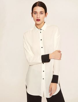 Contrast Cuff Longline Blouse by Armani Exchange