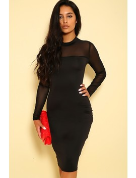 Sexy Black Sheer Mesh Long Sleeve Bodycon Knee Length Party Dress by Ami Clubwear