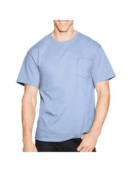 Men's Tagless Crew Neck Short Sleeve Pocket Tshirt by Hanes