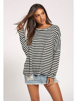 Black And White Stripe Soft Knit Dolman Top by Love Culture
