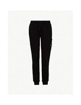 Logo Badge Cotton Jersey Jogging Bottoms by Stone Island