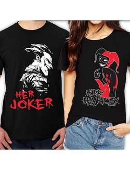 Her Joker His Harley Halloween Couple Matching Funny Cute T Shirts Her Joker Black S by Go Custom