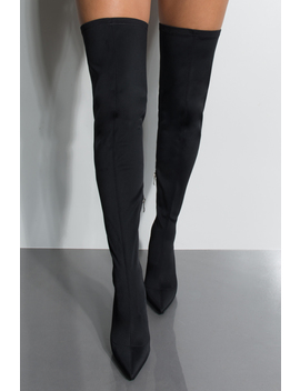 Spending The Weekend Away High Heel Pointed Toe Thigh High Boot by Akira