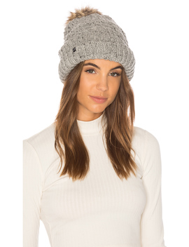 Fleece Lined Chunky Knit Beanie With Faux Fur Pom by Plush