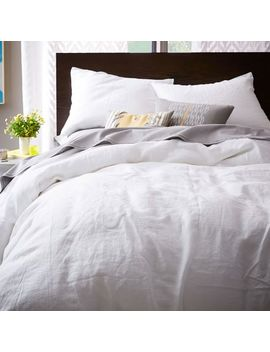 Belgian Linen Duvet Cover, Full/Queen, White by West Elm