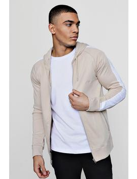Man Signature Muscle Fit Hoodie With Striped Sleeve by Boohoo