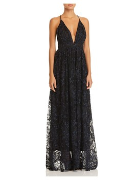 Plunging Embroidered Gown   100 Percents Exclusive by Aqua