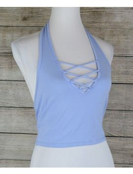 Express One Eleven Abbreviated Lace Up Halter Tank Top Crop Tee Shirt Blue M by Express One Eleven