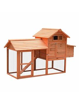 Paw Hut 82 Inch Deluxe Backyard Wood Chicken Coop Poultry Habitats Rabbit Hutch House With Run And Nesting Box by Amazon
